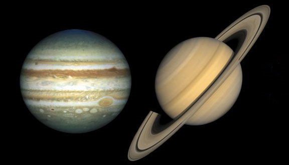 Ciel du quatrième juillet: Jupiter et Saturne
