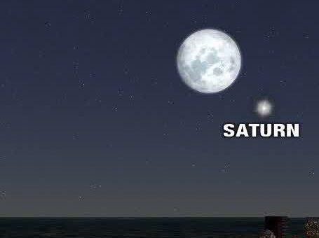 Saturne à son plus brillant – à côté de la pleine lune de fraise mercredi