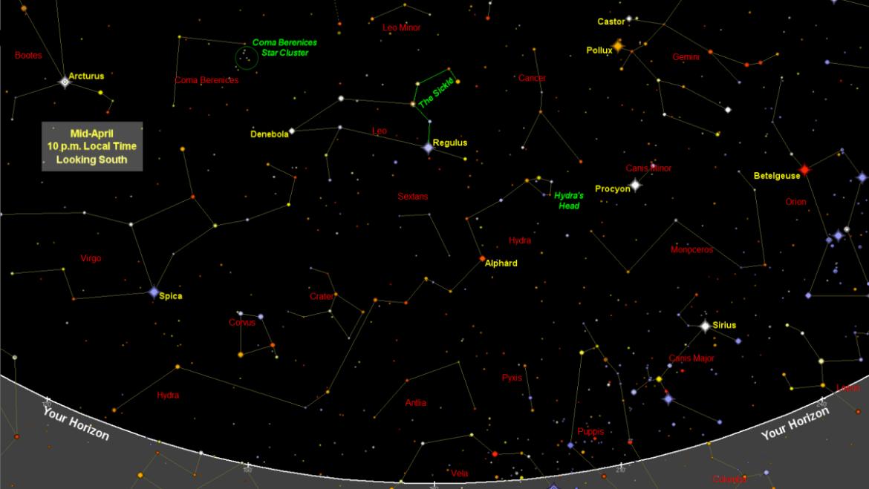 Carte du ciel et carte des étoiles d'avril: constellations moins connues