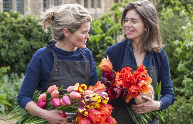 Portrait de jardiniers de terre avec des tulipes