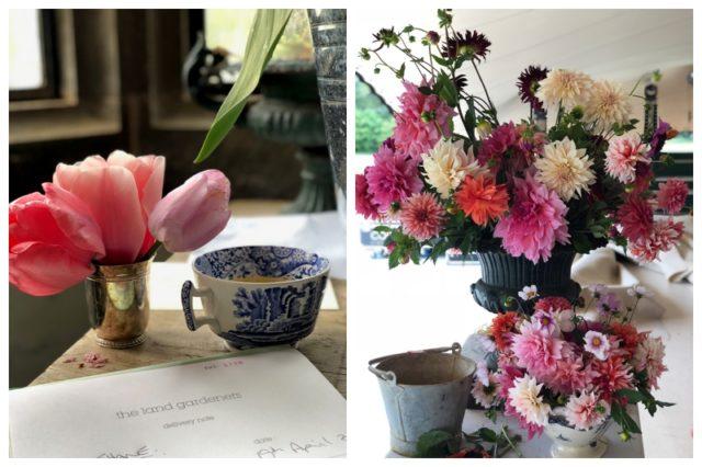 Tasses à thé et fleurs