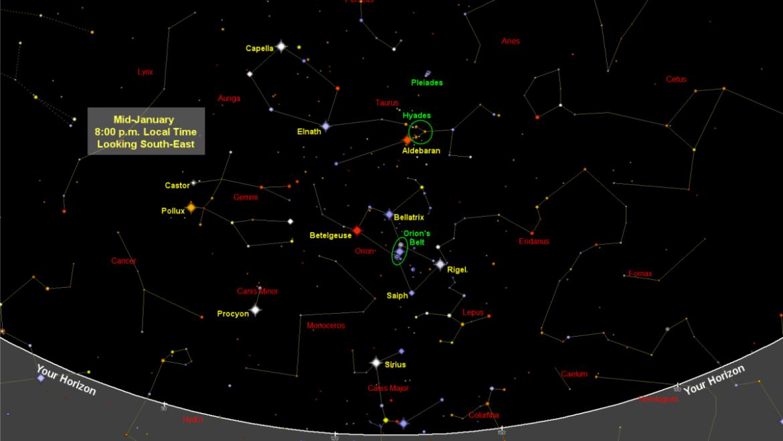 Carte du ciel nocturne de janvier 2021: le ciel le plus brillant de l'année