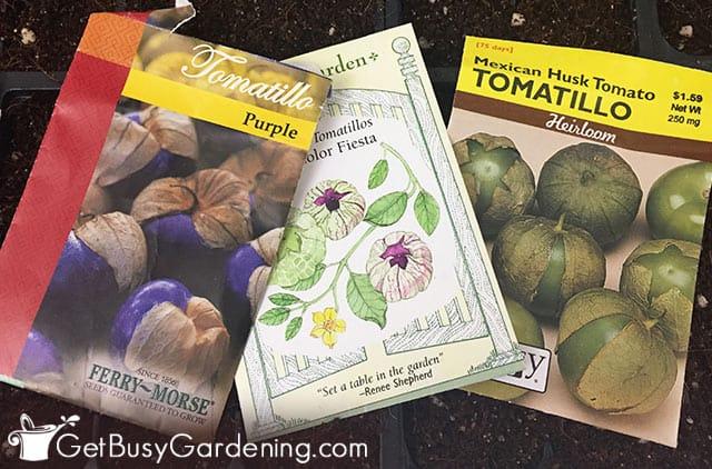 Différents types de paquets de graines de tomatillo