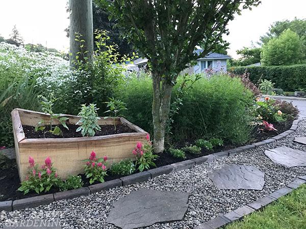 Live edge lit surélevé dans un jardin de la cour avant