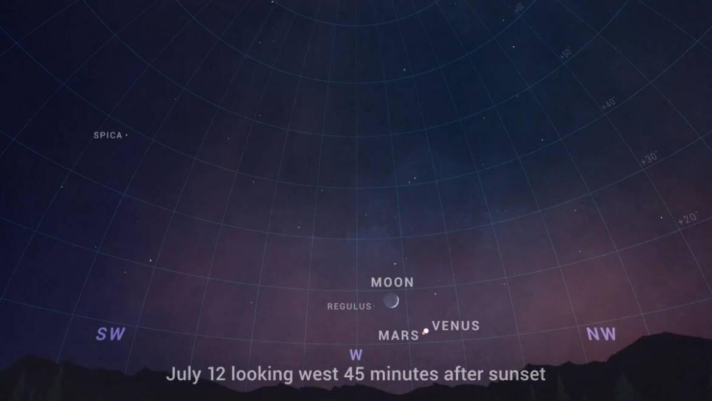 Vénus, Mars et la Lune se rencontrent du 11 au 12 juillet: la meilleure conjonction à trois voies de 2021