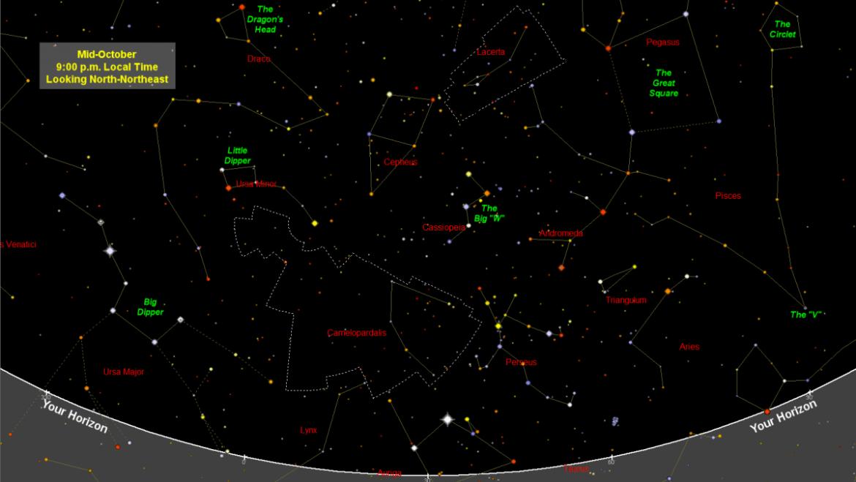 Carte du ciel nocturne d'octobre 2021: constellations, hier et aujourd'hui